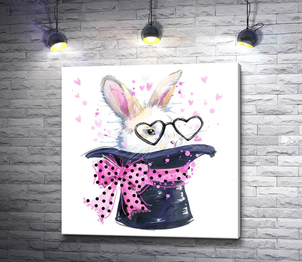 """Картина """"Белый кролик в шляпе с розовым бантом"""""""
