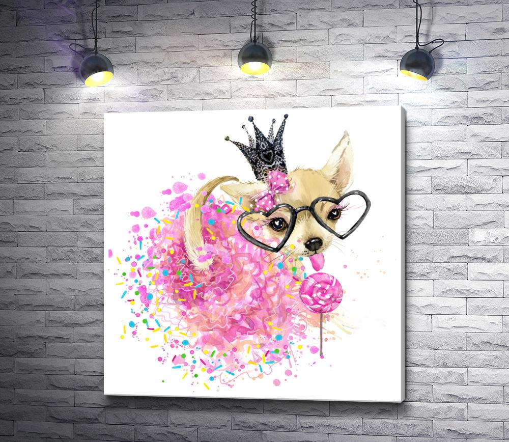 """Картина """"Той-терьер в розовой юбке, очках и короне"""""""
