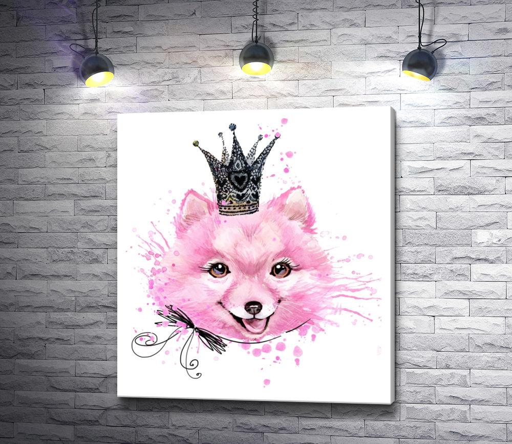 """Картина """"Веселая розовая собака с короной"""""""
