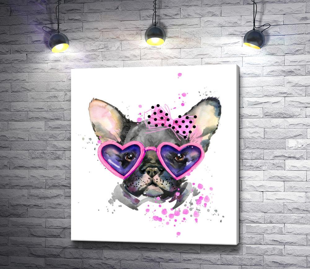 """Картина """"Грустный пес в очках-сердечках"""""""