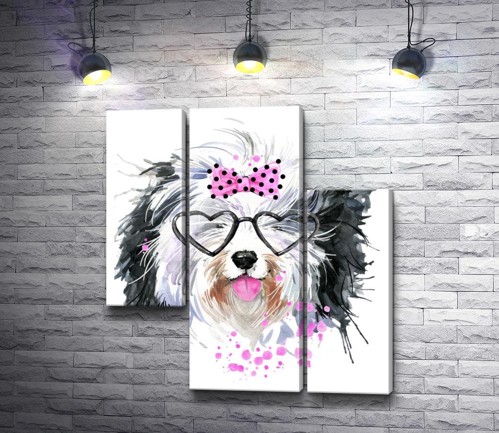 """Картина """"Забавный пес в очках-сердечках"""" из 3-х частей (модуль №10)"""