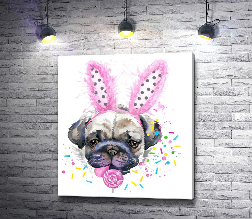 """Картина """"Мопс с леденцом и в розовых заячьих ушках"""""""