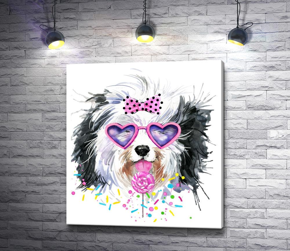 """Картина """"Лохматый пес в очках-сердечках и с леденцом"""""""