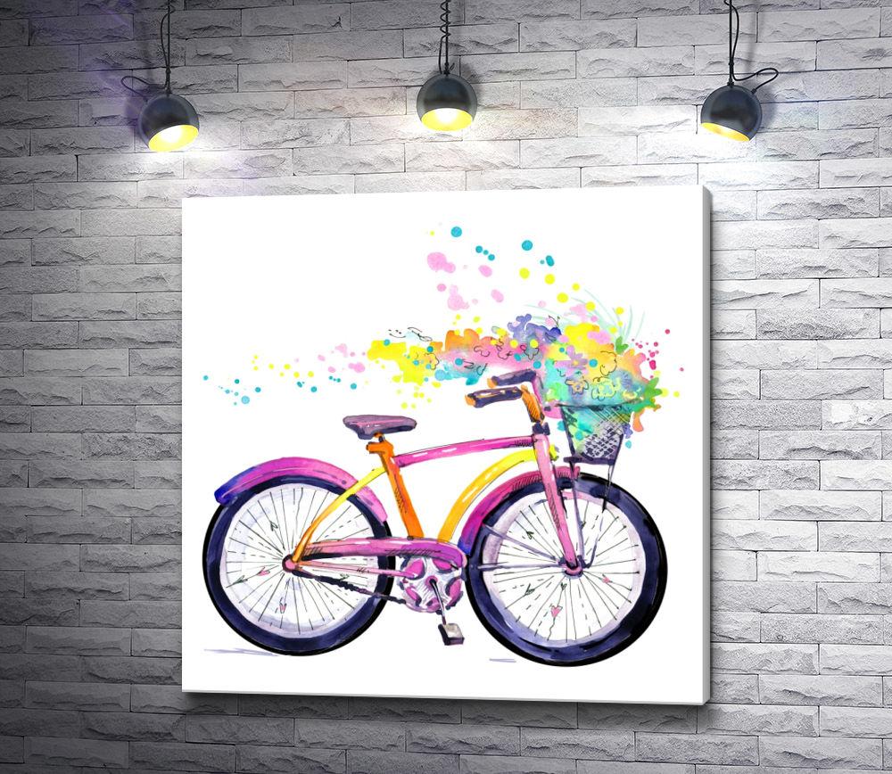 """Картина """"Велосипед и разноцветные брызги"""""""