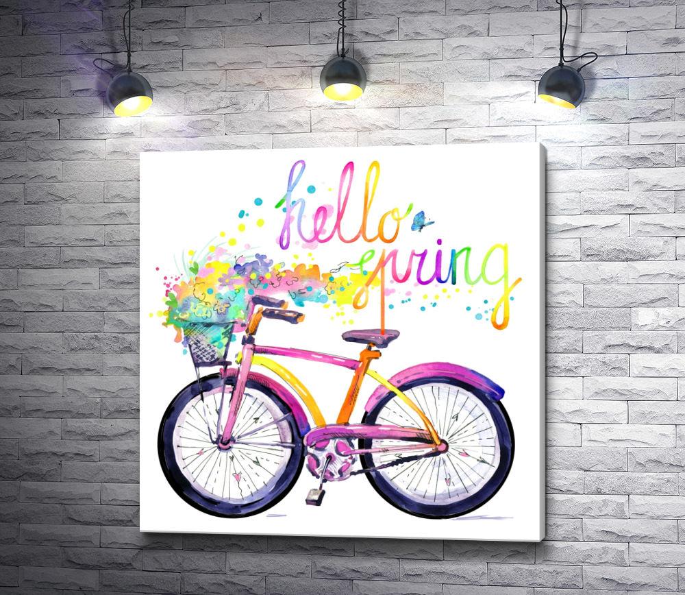 """Картина """"Велосипед и разноцветные брызги. Hello spring"""""""