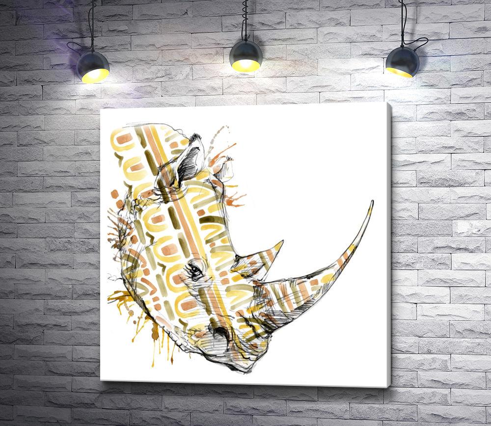 """Картина """"Голова носорога с птичками"""""""