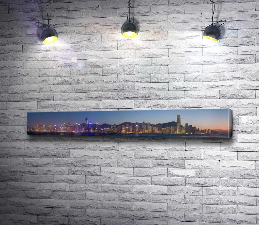 """Картина """"Панорама ночного города, Гонконг"""""""