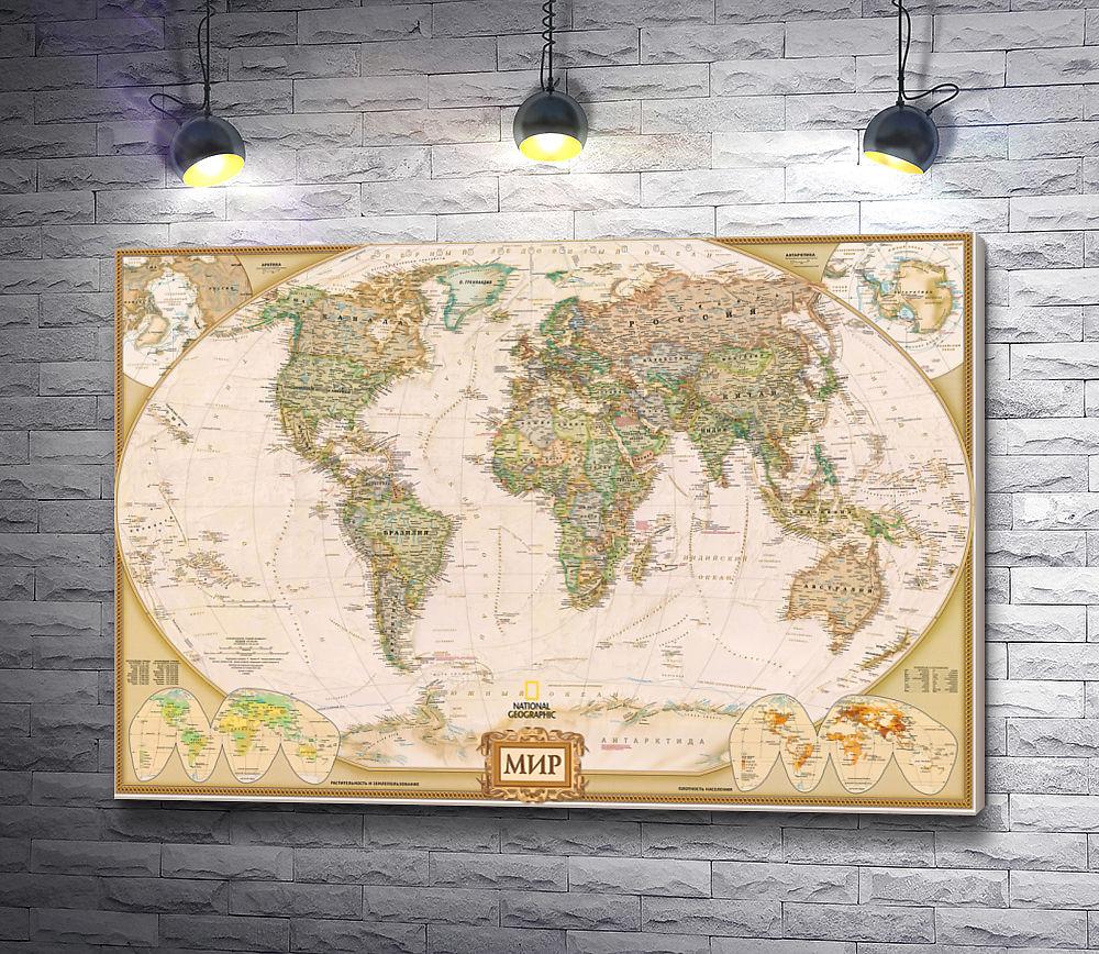 """Картина """"Географическая карта мира от National Geographic"""""""