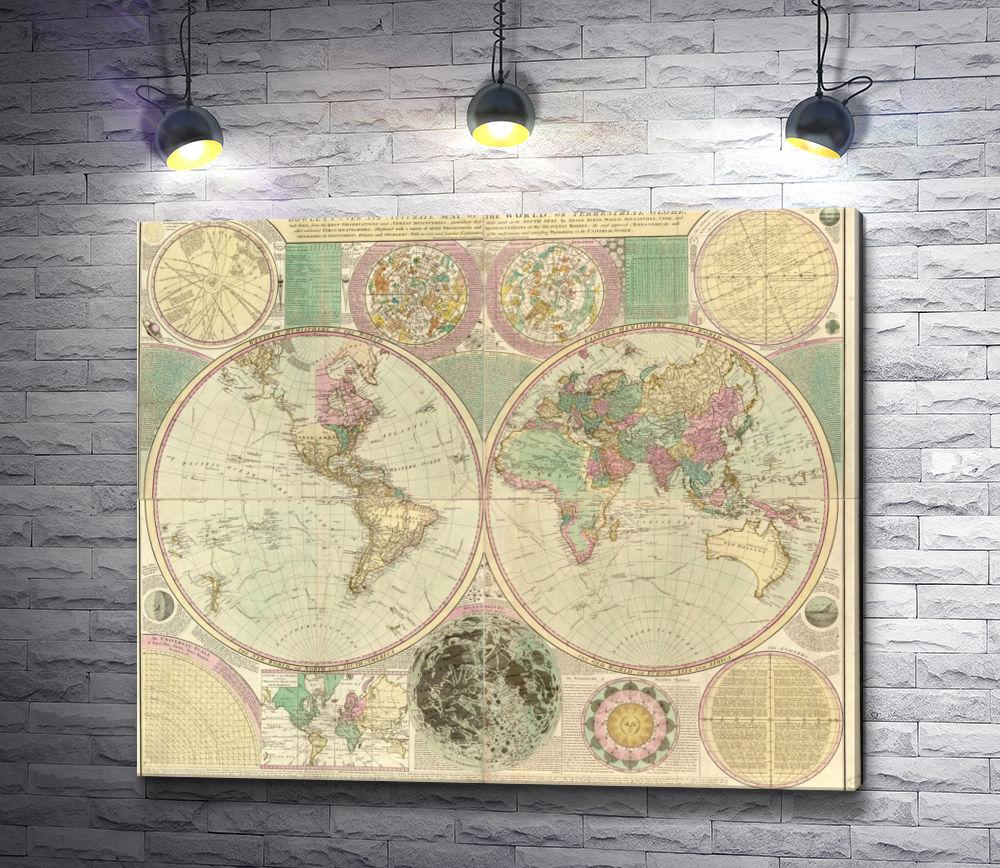 """Картина """"Карта мира от Carington Bowles (около 1780)"""""""