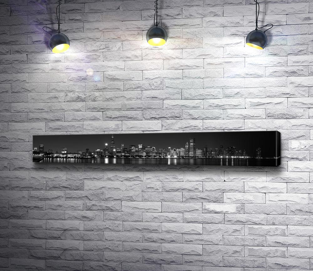 """Картина """"Панорама ночного Гонконга в черно-белой гамме"""""""