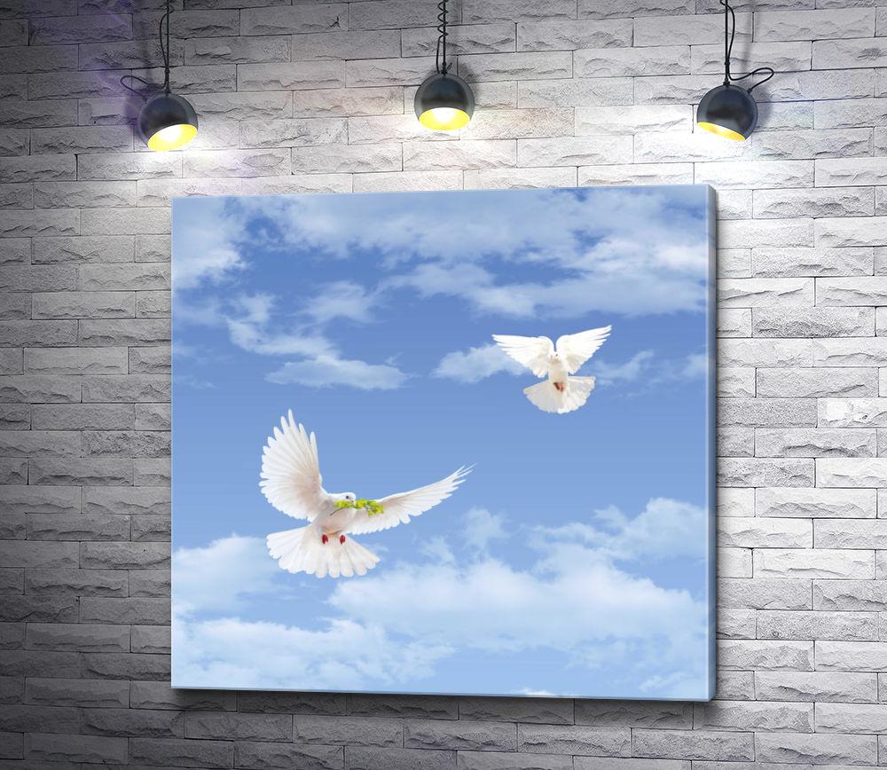 """Картина """"Два белых голубя с веточкой в небе"""""""