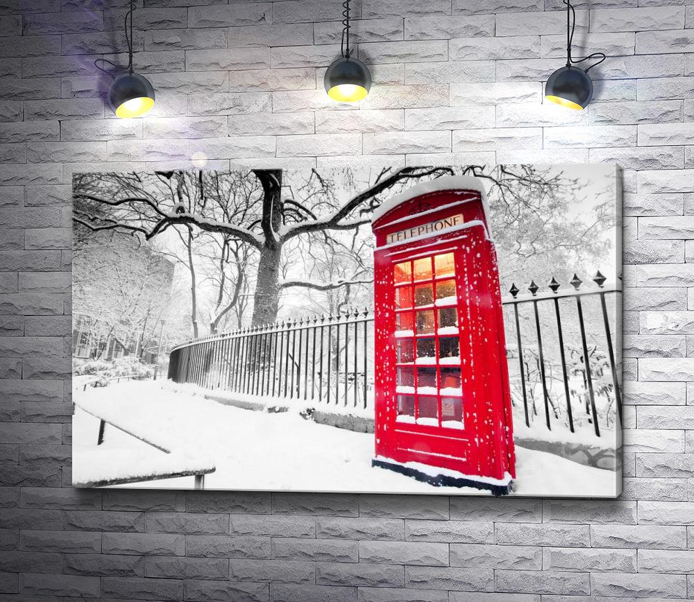 """Картина """"Красная телефонная будка в зимней Англии, Лондон"""""""