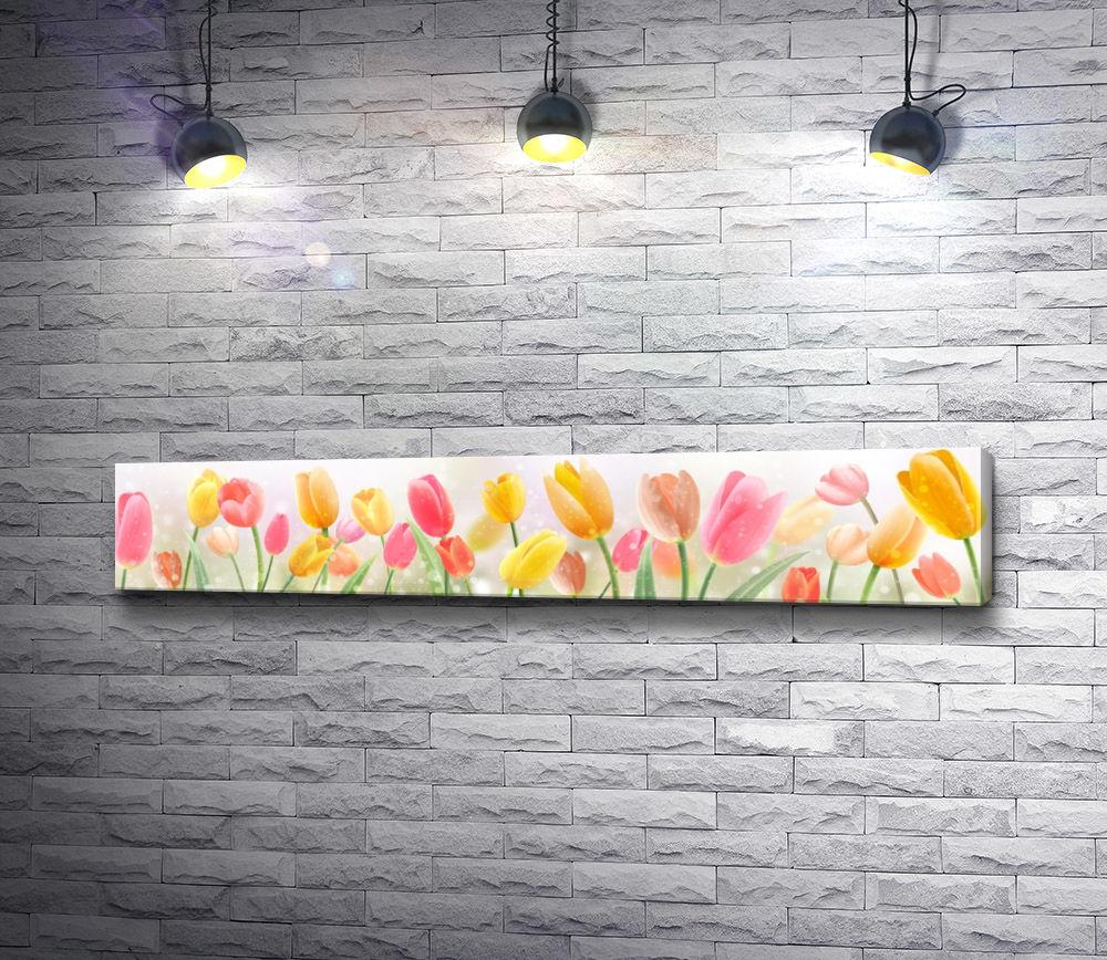 """Картина """"Желтые и розовые тюльпаны"""""""
