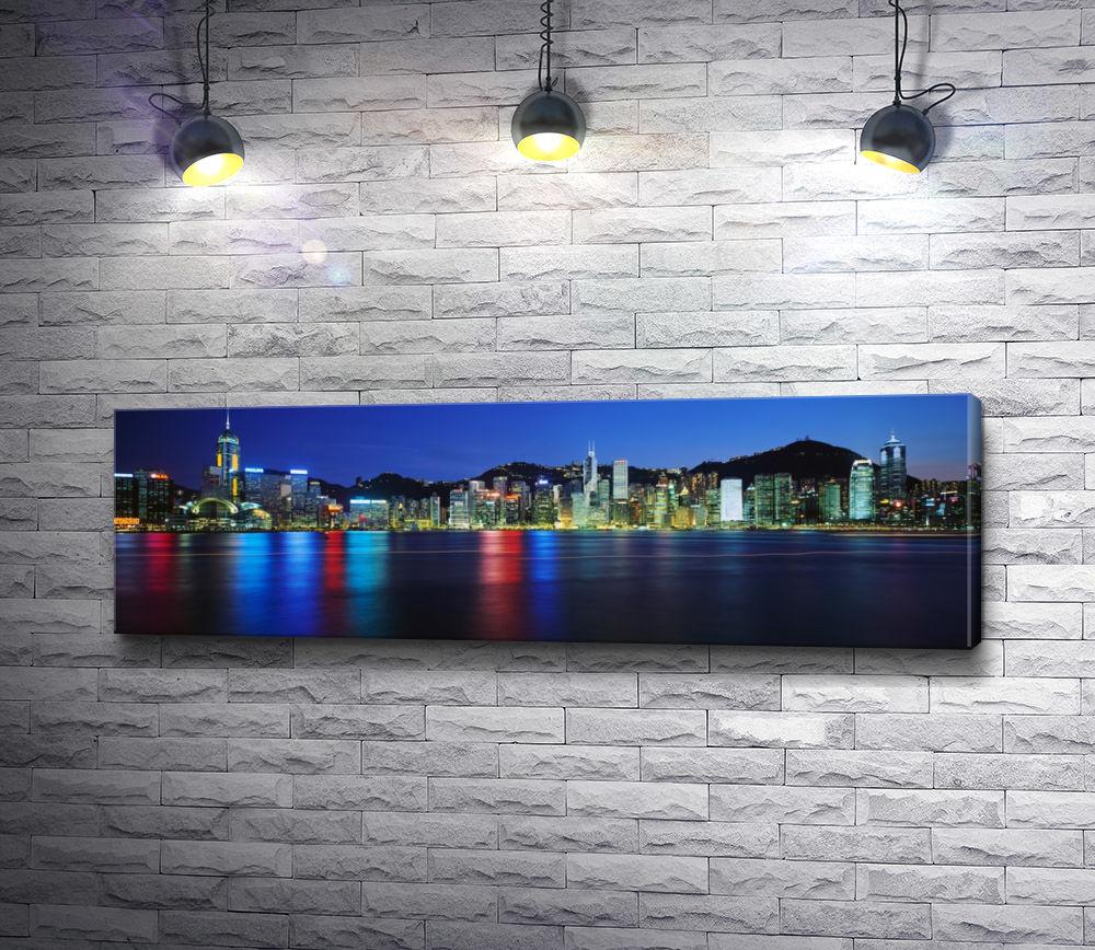 """Картина """"Панорама ночного города у океана"""""""