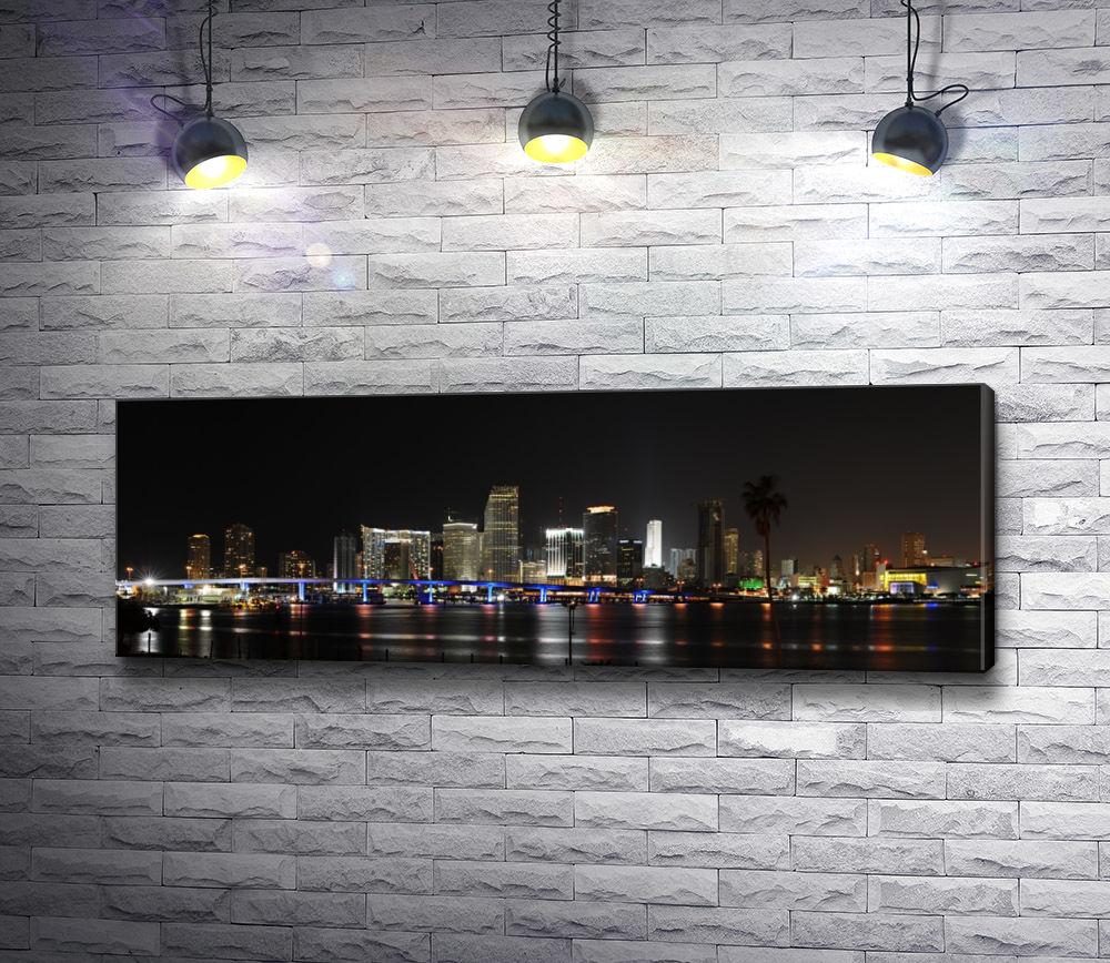 """Картина """"Панорама ночного Майами, США"""""""