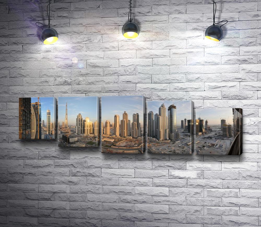"Картина ""Панорама города Дубаи, небоскребы  "" из 5-и частей (модуль №29)"