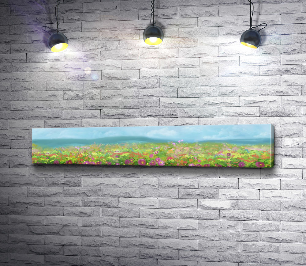 "Картина ""Весенняя поляна с цветами"""