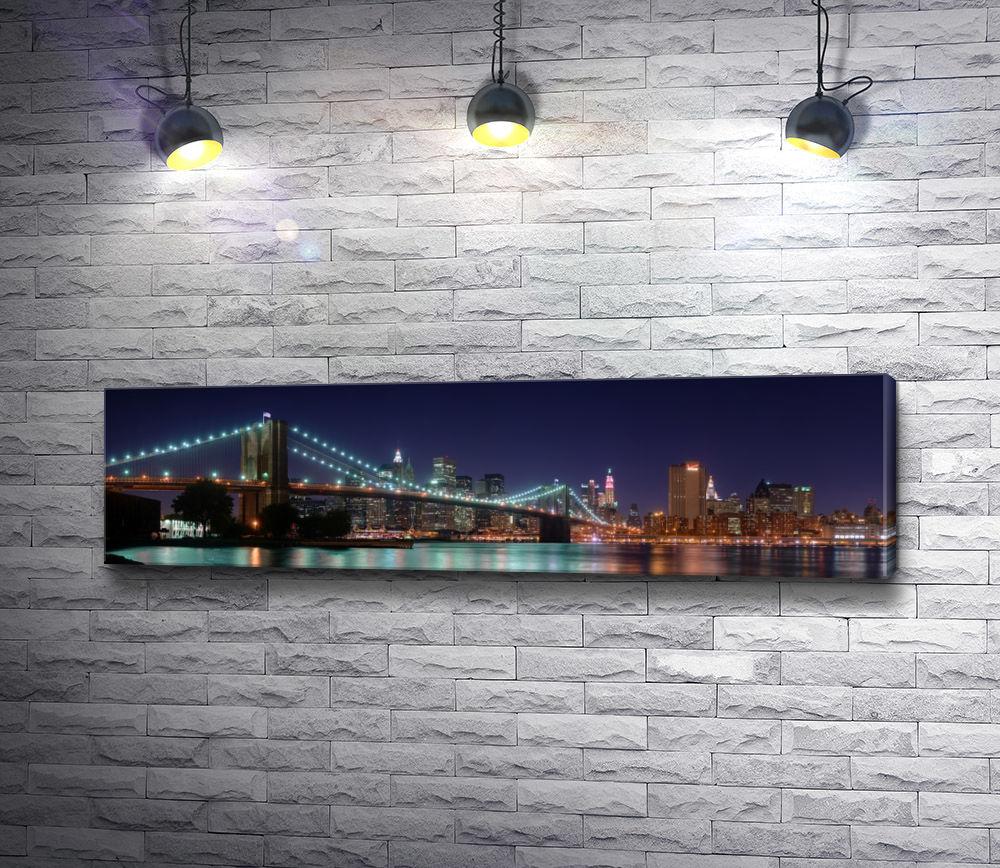 """Картина """"Ночной Манхэттенский мост в Нью-Йорке"""""""