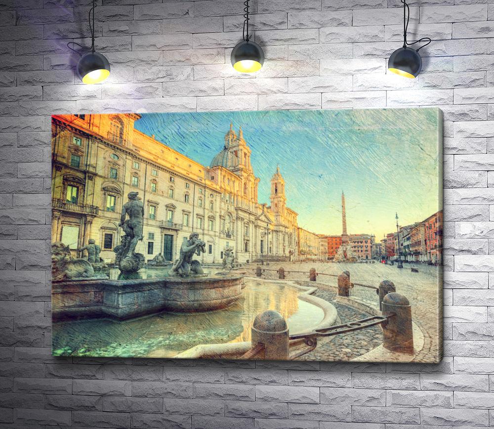 "Картина ""Пьяцца Навона и фонтан Мавра в Риме. Винтаж"""