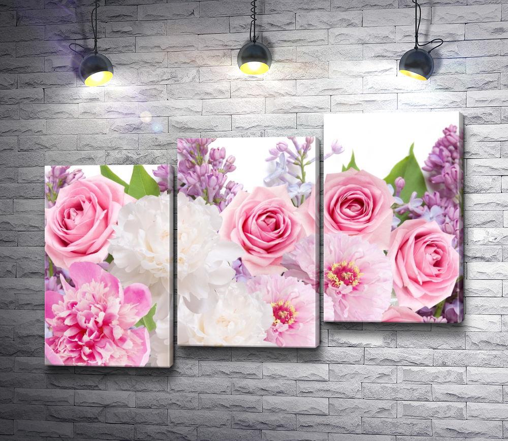 """Картина """"Букет из роз, пионов и сирени"""" из 3-х частей (модуль №12)"""