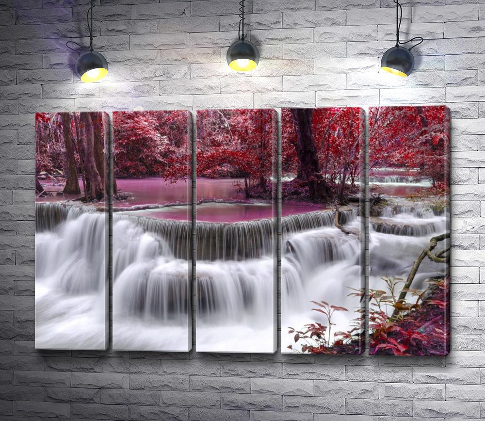 """Картина """"Водопад в розовой пуще"""" из 5-и частей (модуль №27)"""