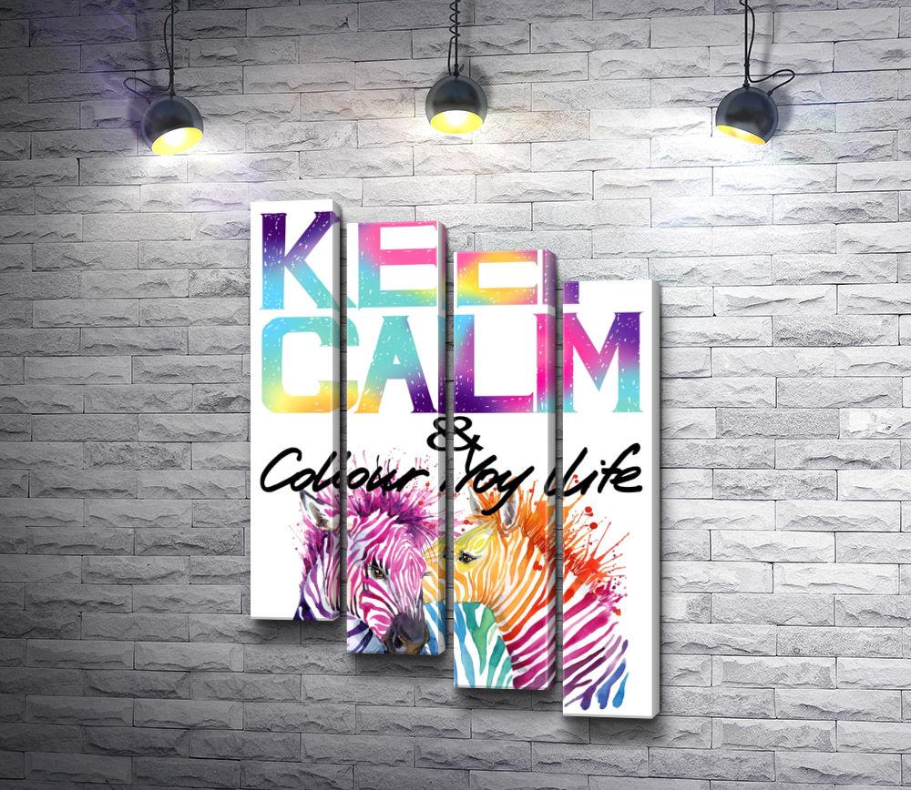 """Картина """"Постер """"Keep Calm & colour life"""" с разноцветными зебрами"""" из 4-х частей (модуль №18)"""