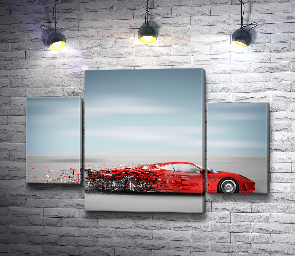 """Картина """"Красный автомобиль разлетается на кусочки"""" из 3-х частей (модуль №7)"""