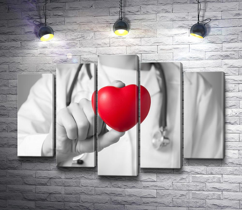 """Картина """"Доктор держит в руках игрушку-сердце, черно-белое фото"""" из 5-и частей (модуль №26)"""