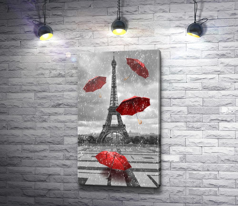 """Картина """"Красные зонты на фоне Эйфелевой башни в черно-белой гамме, Париж"""""""