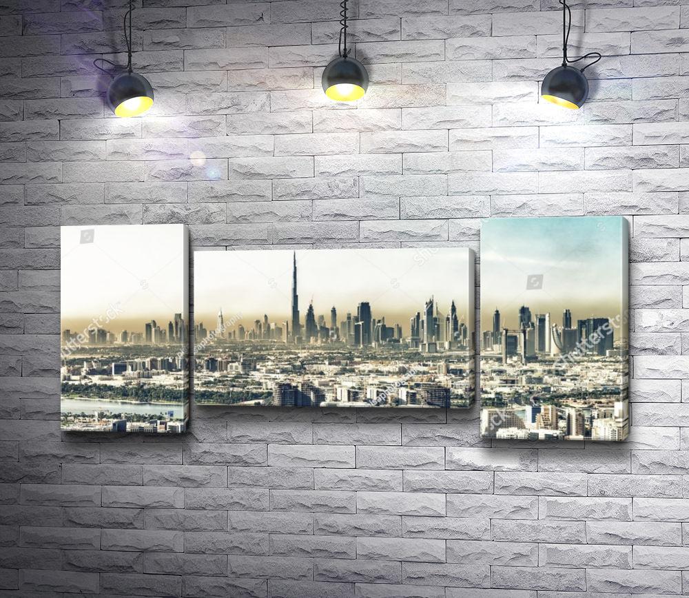 """Картина """"Панорамный вид на Дубай, ОАЭ"""" из 3-х частей (модуль №8)"""
