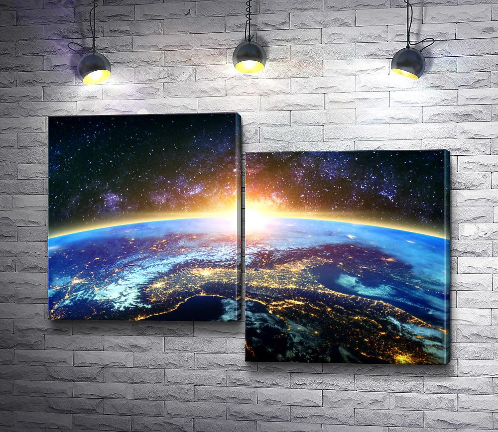 """Картина """"Восход Солнца в Космосе """" из 2-х частей (модуль №5)"""
