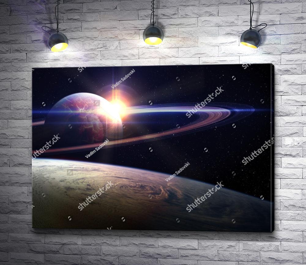 """Картина """"Восход солнца в Космосе """""""