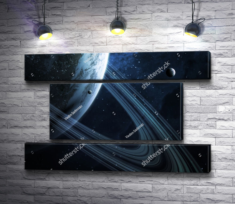 "Картина ""Кольца Сатурна "" из 3-х частей (модуль №17)"