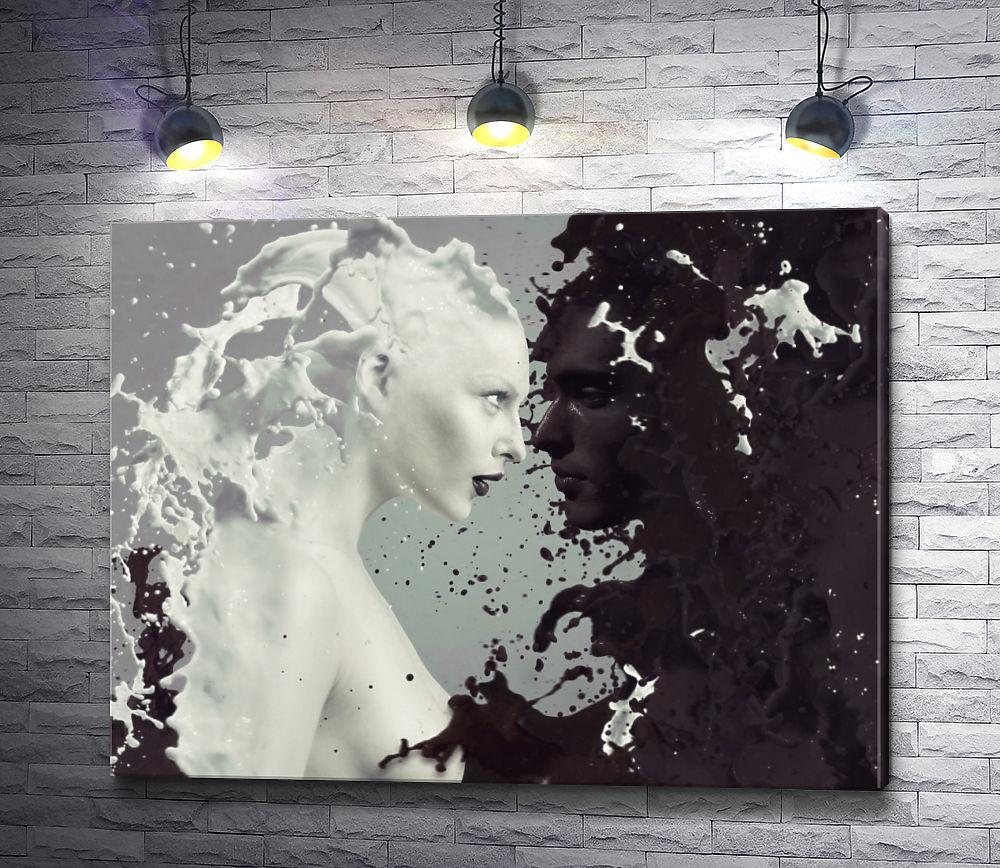 """Картина """"Кофе с молоком в образе мужчины и девушки"""""""
