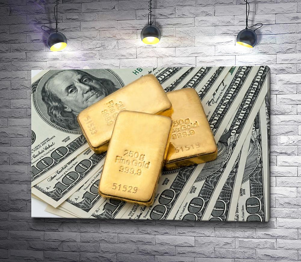 """Картина """"Деньги и золотые слитки"""""""