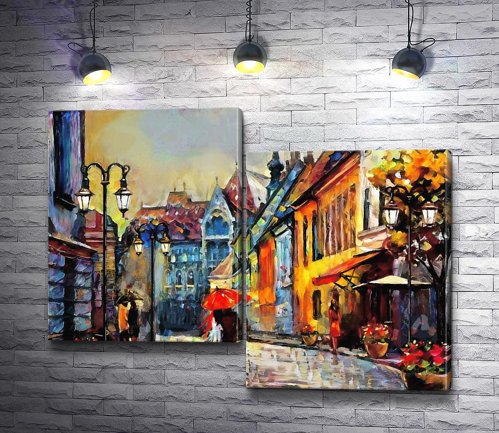 """Картина """"Осень в городе """" из 2-х частей (модуль №5)"""
