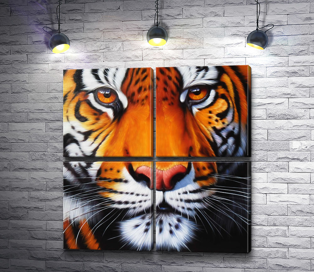 "Картина ""Морда амурского тигра "" из 4-х частей (модуль №24)"