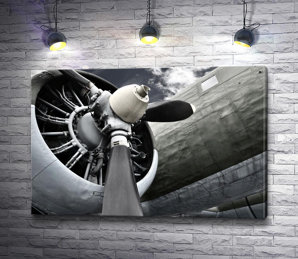 """Картина """"Красивое изображение мотора самолета с лопастями"""""""