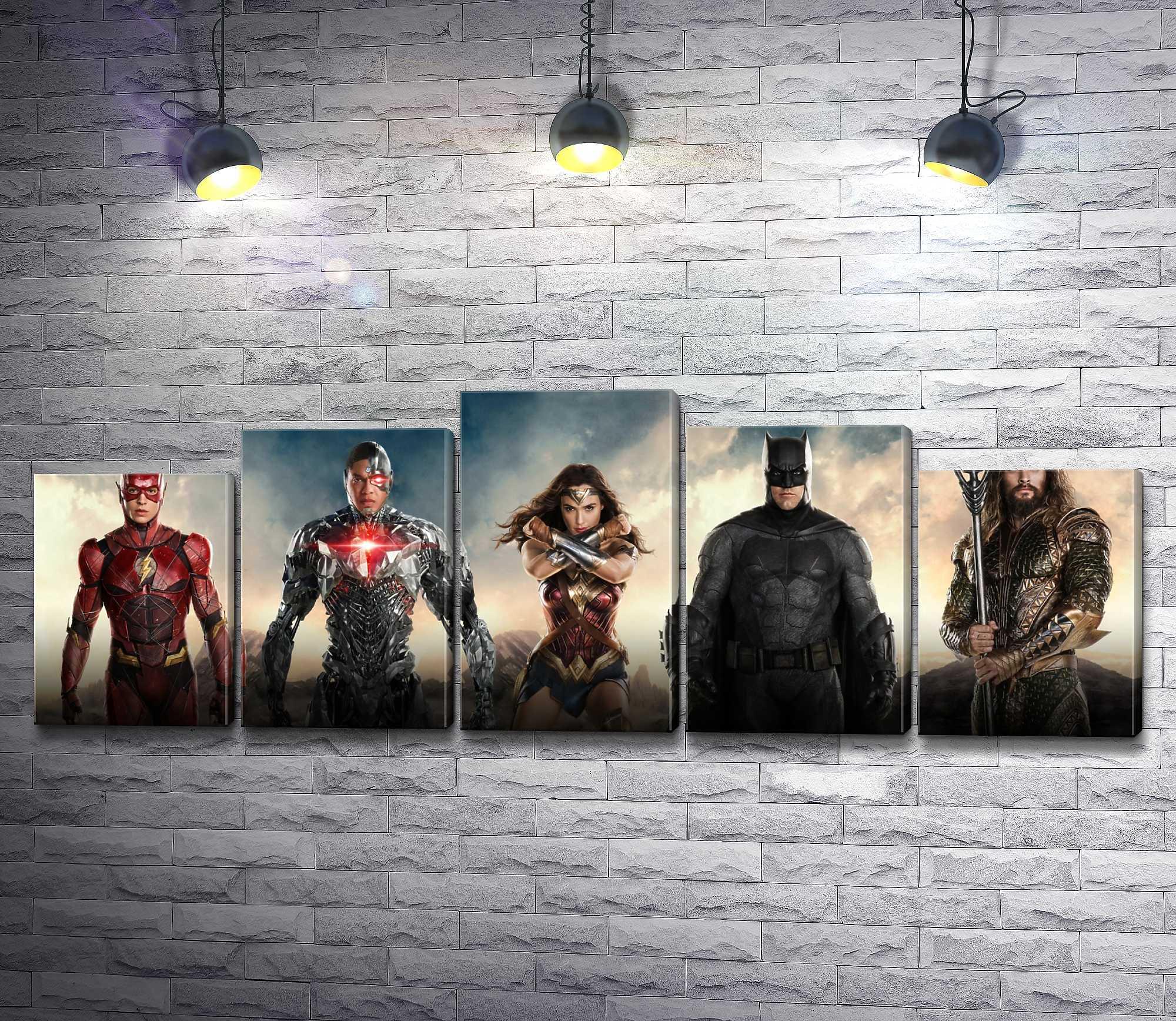 "Картина ""Лига справедливости- Бэтмен, Чудо-женщина, Флэш и Аквамен"" из 5-и частей (модуль №30)"